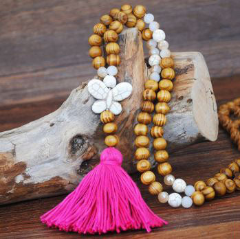 Handmade Wooden Beads Long Necklace & Pendant - Butterfly Shape with Pink Tassel