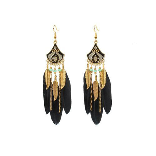 Bohemian Crescent Style Beaded Earrings For Women's Retro Long Black Color Tassel