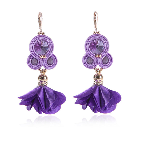 Handmade Soutache Long Hanging Earring Jewelry for Women-Purple Color