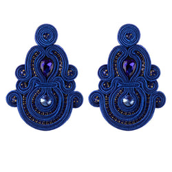 Ethnic Style Long Hanging Pendant Earrings- Blue Color