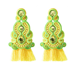 Ethnic Style Leather Soutache Earrings For Women-  Yellow Color