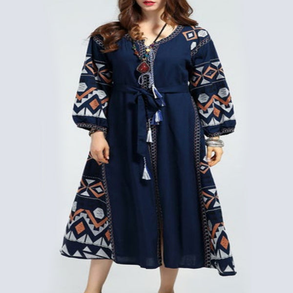 Women's Long Sleeves Blue Dress With White and Orange Embroidery 400 Pcs
