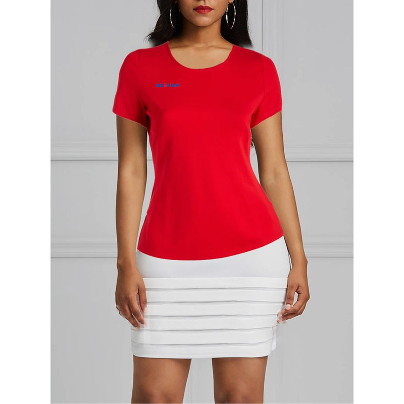 Soft Red Round Neck Comfy Cotton Spandex Top By Rapheeze