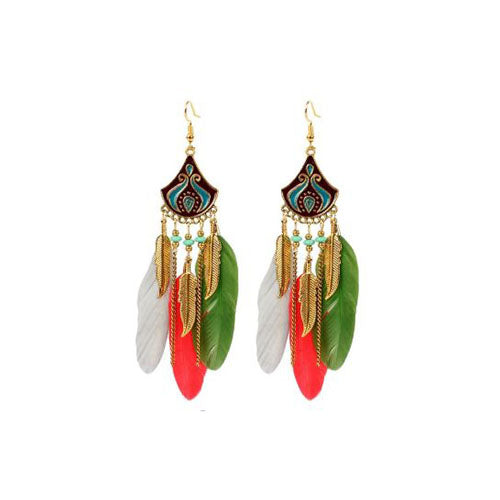 Bohemian Crescent Style Beaded Earrings For Women's with Multi color Tassels