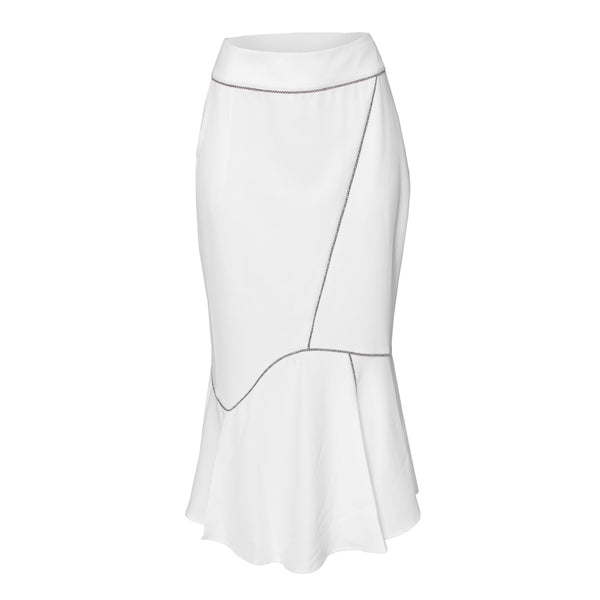 Long Calf Length Skirt-Curved Angle White