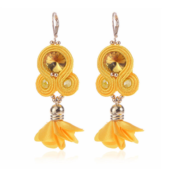 Handmade Soutache Long Hanging Earring Jewelry for Women-Yellow Color