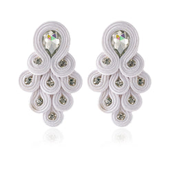 Peacock Tail Shape Soutache Earring for women-  White Color