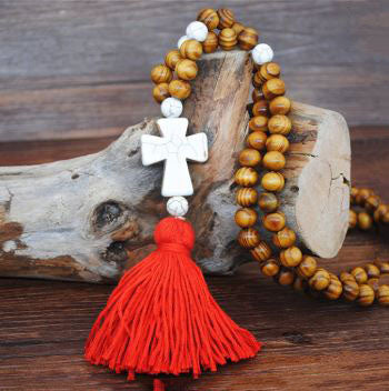 Handmade Wooden Beads Long Necklace & Pendant - Butterfly Shape with Red Tassel