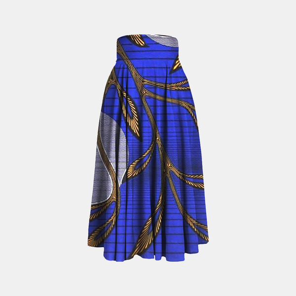 Blue Golden Leaves Wax Printed Floor Length Maxi Skirt