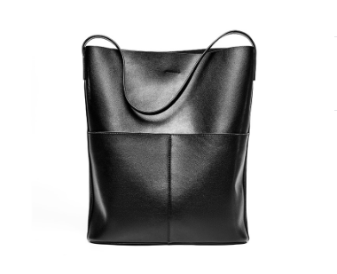 Fashionable Italian Leather Made Large Shoulder Bag for Women - Black Color