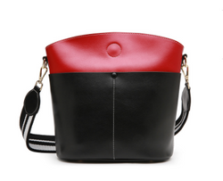 Autumn Style Genuine Italian Leather Made  Bucket bag for Ladies - Black with Red