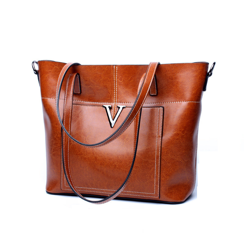 Unique Designed Italian Leather Made Crossbody Tote Bag for Women - Brown