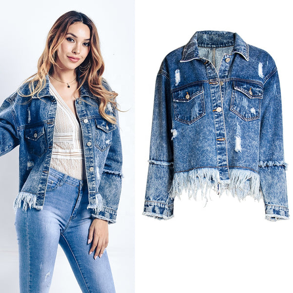 Street wear Vintage Ripped Style Waist Less Denim Jacket with Long Sleeve for Women