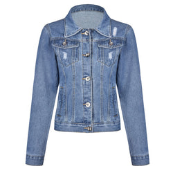 Long Sleeve Faded Denim Jacket Vintage Coat Style for Women