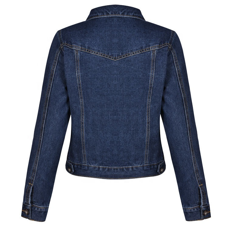 Deep Blue Denim Bikers Jacket with Long Sleeve for Women
