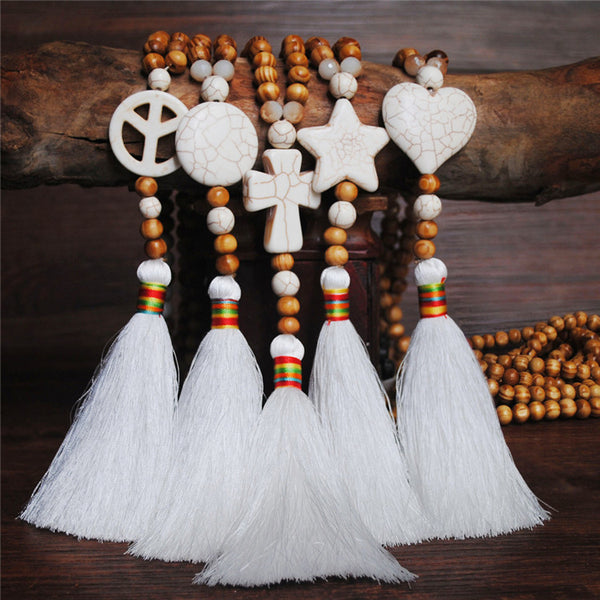 Women's White Thread Ethnic Style Handmade Wooden Beads Necklace - Round Shape with White Tassel