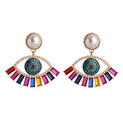 Eye shaped Gold Metal Earrings for Women with Pearl
