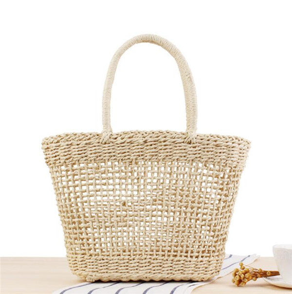 Woman's High Quality Straw Basket Beach Totes Bag