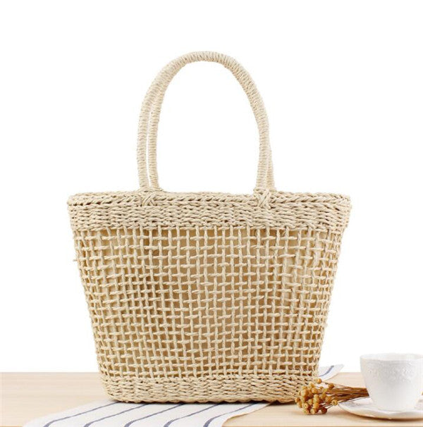 Woman's Straw Basket Beach Tote Bag