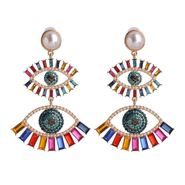 Double Eye shaped Gold Metal Earrings for Women with Pearl