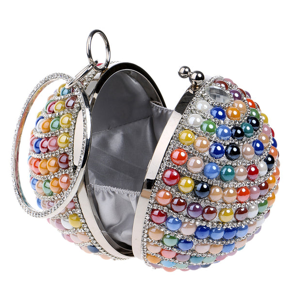 Hot Luxury Round Globe Circle Ball Acrylic Pearl Clutch Bag for Women - Colorful
