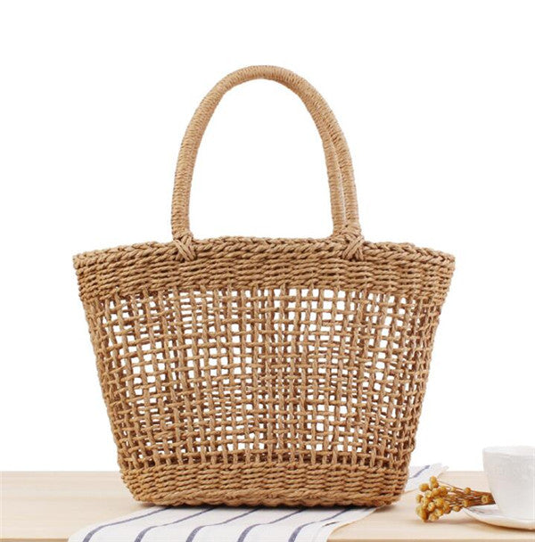 Woman's High Quality Straw Basket Beach Tote Bag