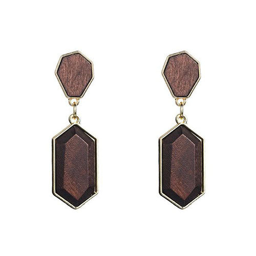 Women's Round African Wood with Alloy Dangle Earrings