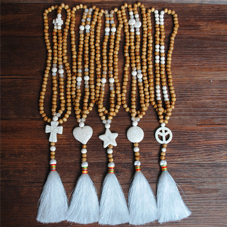 Women's White Thread Ethnic Style Handmade Wooden Beads Necklace - Unique Shape with White Tassel