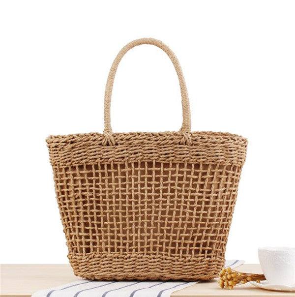 Woman's High Quality Straw Basket Beach Totes Handbags
