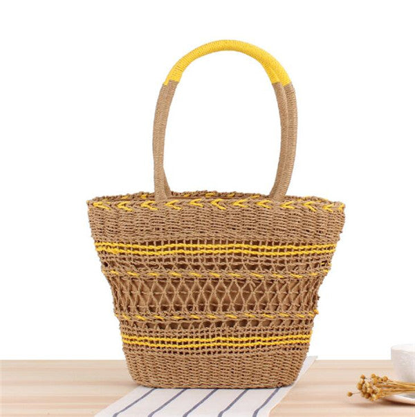 Women's New Style Fashion Yellow Straw Basket Tote Bag