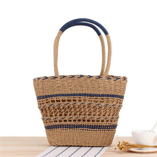 Women's New Style Fashion Black Straw Basket Tote Bag