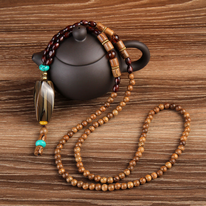 Natural Stone with Wood Beads Pendant Necklaces For Women