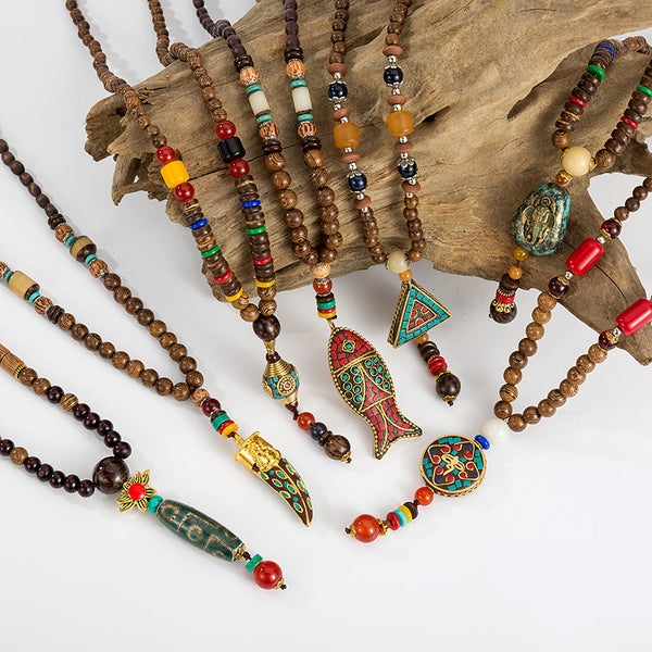 Handmade Wood Beads Pendant & Necklace Ethnic Long Strand Buddhist Mala