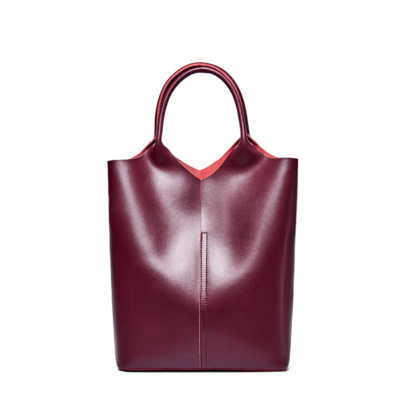 Classy Red Wine Color Cowhide Italian Leather Shoulder Bags for Women