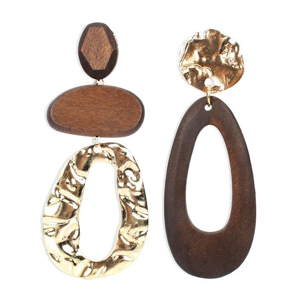 African Wooden with Alloy Dangle Earrings for Women's