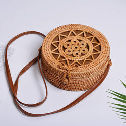 Beautiful Designed Woven Rattan Bag Round and Small for Women - Brown