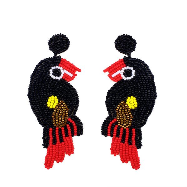 Parrot Beaded Creative Colorful Dangle Earrings For Women's