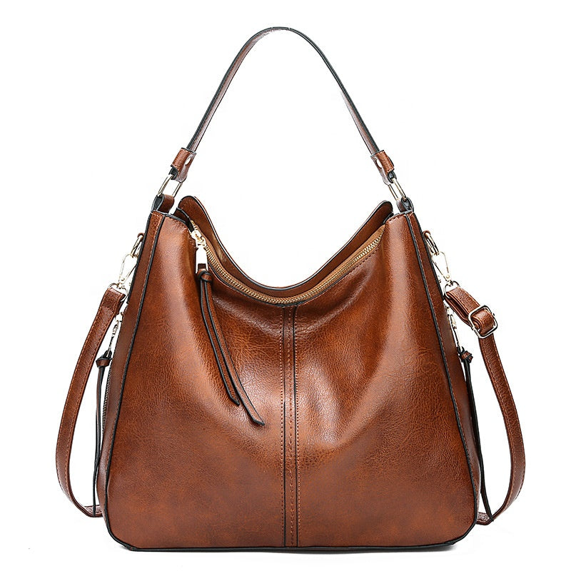 Stylish Designed Italian Leather Made Cross Body Tote Bag for Women - Brown