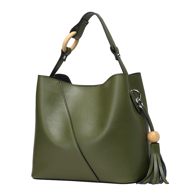 Beautiful Designed Cowhide Italian Leather Tote Bags for Women - Army Green Color
