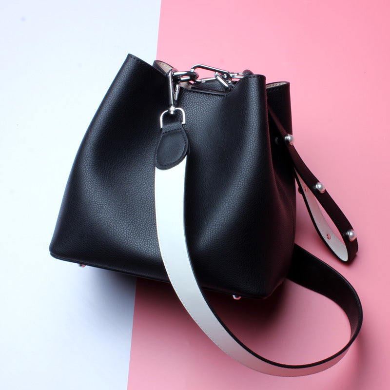 Classy Designed Genuine Italian Leather Bucket Bags for Women - Black Color