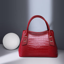 Fashionable Italian Leather Made Large Shoulder Bag for Women - Red Color