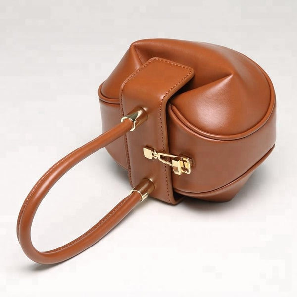 Unique Designed Vintage Style Italian Leather Made Tote Bag for Women - Brown Color