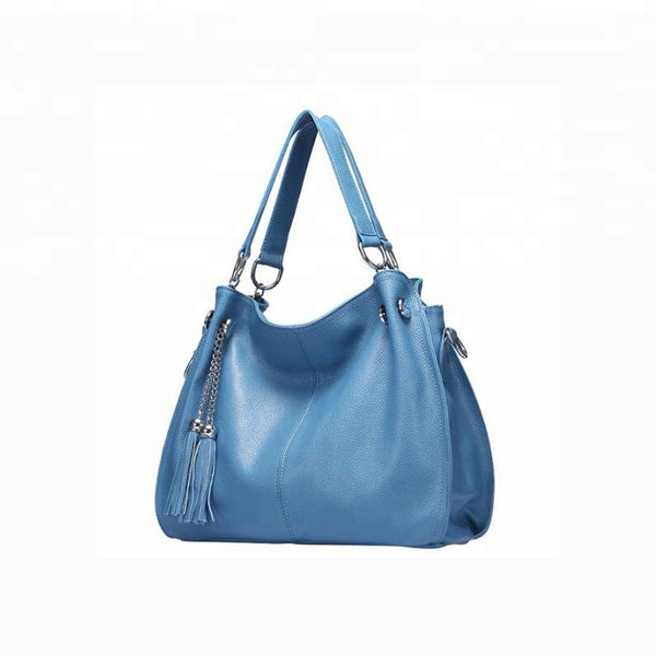 Beautiful Designed Cowhide Italian Leather Shoulder Bags for Women - Sky Blue