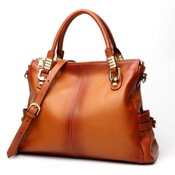 Fashionable Genuine Italian Leather Made Foldable Tote Bag for Women - Brown Color