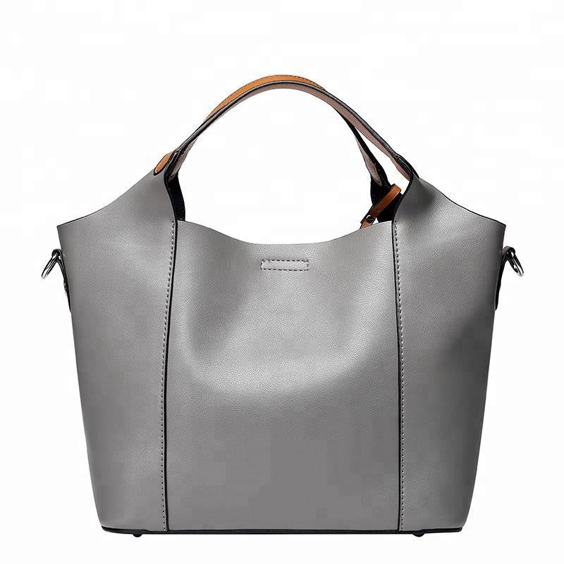Unique Designed Italian Leather Made Tote Bag for Women - Gray