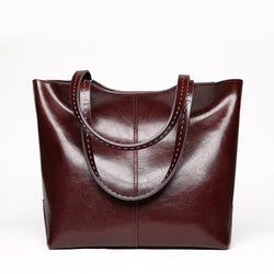 Casual Design Genuine Italian Leather Made Shoulder Bags for Women - Coffee Color
