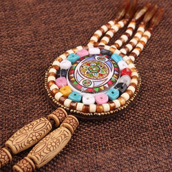 Handmade braided vintage Ethnic leather jewelry necklace for women's