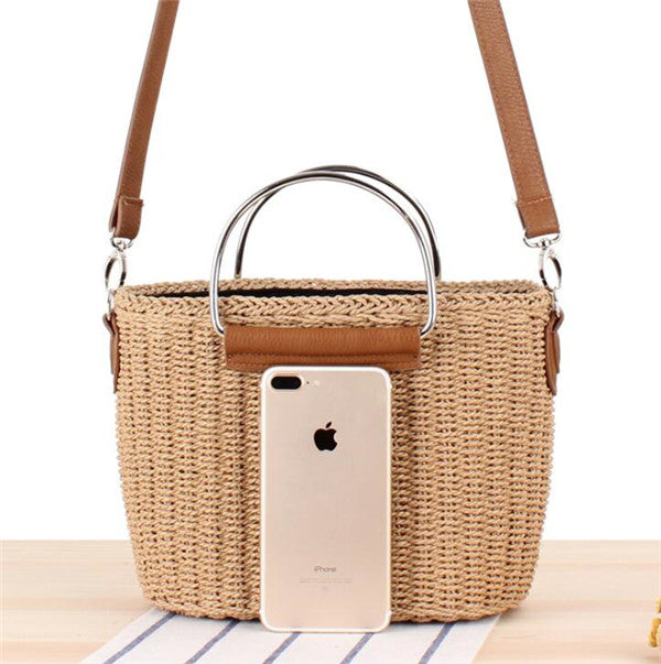 Women's Straw Beach Tote Handbag with Classical Metal Handle