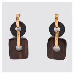 African Geometric Wooden Alloy Dangle Earrings for Women's