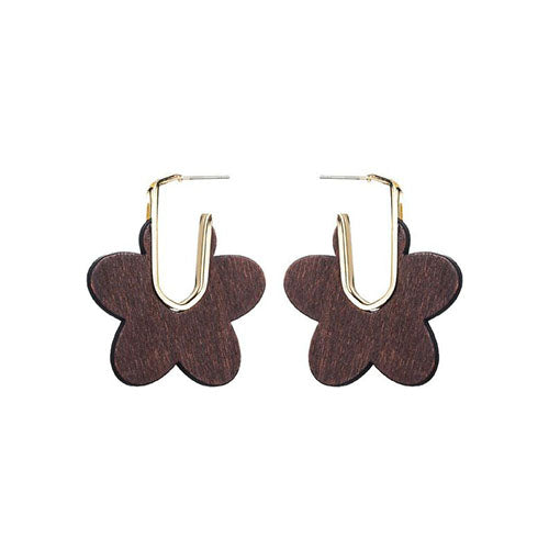 Women's Round African Wood with Alloy Stud Earrings